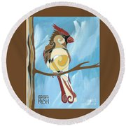 Moms Day Off Female Cardinal Painting Round Beach Towel
