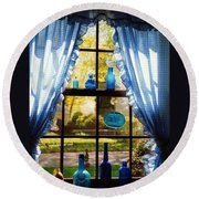 Mom's Kitchen Window Round Beach Towel