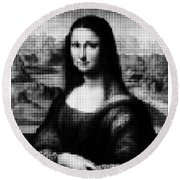 Mona Lisa Halftone Round Beach Towel