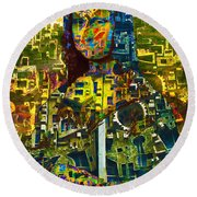 Round Beach Towel featuring the mixed media Mona by Tony Rubino