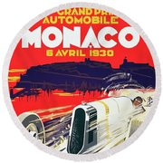Monaco Grand Prix 1930 Round Beach Towel by Taylan Apukovska