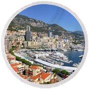 Monaco Port Hercule Panorama Round Beach Towel by Yhun Suarez
