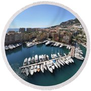 Monaco Port De Fontvieille  Round Beach Towel by Yhun Suarez