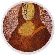 Monalisa Round Beach Towel by Fei A