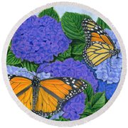 Monarch Butterflies And Hydrangeas Round Beach Towel