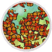 Monarch Butterflies Round Beach Towel by Gaspar Avila
