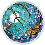 Monarch Butterflies In Teal Moonlight Round Beach Towel