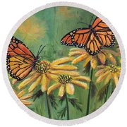 Monarch Butterflies Round Beach Towel by Lou Ann Bagnall