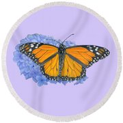 Monarch Butterfly And Hydrangea- Transparent Background Round Beach Towel