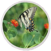 Round Beach Towel featuring the painting Monarch Butterfly by Debra Crank