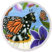 Monarch Butterfly Fairy Cat Round Beach Towel