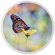 Round Beach Towel featuring the photograph Monarch Butterfly -  In The Garden by Kerri Farley