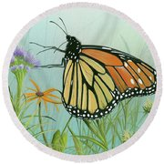 Monarch Butterfly Round Beach Towel by Mike Brown