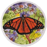 Monarch Butterfly On Purple Flowers Watercolor Batik Round Beach Towel