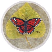 Monarch Butterfly Round Beach Towel by Ralph Root