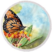 Round Beach Towel featuring the painting Monarch Butterfly by Sam Sidders