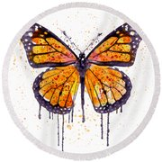 Monarch Butterfly Watercolor Round Beach Towel
