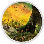 Monarch Meadow Round Beach Towel