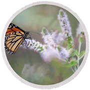 Round Beach Towel featuring the photograph Monarch On Mint 1 by Lori Deiter
