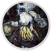 Round Beach Towel featuring the mixed media Monarch Steampunk Goddess by Genevieve Esson