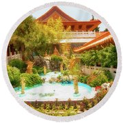 Round Beach Towel featuring the photograph Monastery by Joseph Hollingsworth