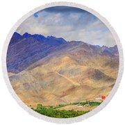 Round Beach Towel featuring the photograph Monastery In The Mountains by Alexey Stiop