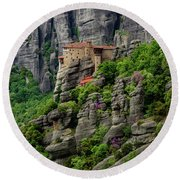 Monastery Of Saint Nicholas Of Anapafsas, Meteora, Greece Round Beach Towel