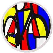 Mondrianesque Road Bike Round Beach Towel