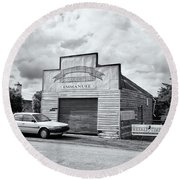 Round Beach Towel featuring the photograph Monegeetta Produce Store by Linda Lees