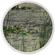 Monet At Giverny Round Beach Towel