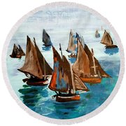 Monet Fishing Boats Calm Seas Round Beach Towel