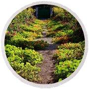 Monet Garden Path  Round Beach Towel