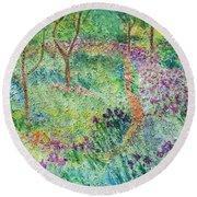 Monet Inspired Iris Garden Round Beach Towel