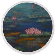 Monet Inspired Water Lilies With Gold Fish In A Pond Round Beach Towel
