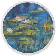 Monet Style Water Lily Marsh Wetland Landscape Painting Round Beach Towel