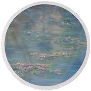 Monet Style Water Lily Peaceful Tropical Garden Painting Print Round Beach Towel