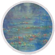 Monet Style Water Lily Pond Landscape Painting Round Beach Towel