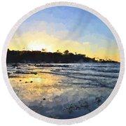 Monet Sunset At La Jolla Shores Round Beach Towel