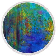 Monet Woods Round Beach Towel by Claire Bull