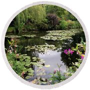 Monets Garden, Giverny, France Round Beach Towel