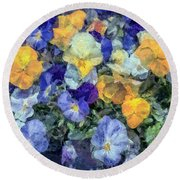 Monet's Pansies Round Beach Towel