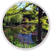 Monet's Pond Round Beach Towel