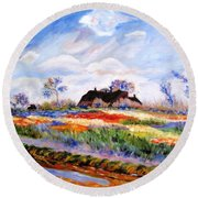 Monet's Tulips Round Beach Towel