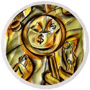 Round Beach Towel featuring the painting Money And Professional Sports   by Leon Zernitsky