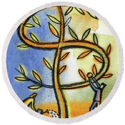 Round Beach Towel featuring the painting Money Tree by Leon Zernitsky
