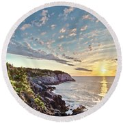 Monhegan East Shore Round Beach Towel by Tom Cameron