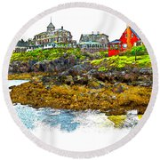 Monhegan West Shore Round Beach Towel