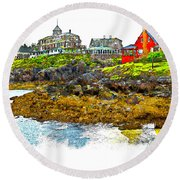 Monhegan West Shore Round Beach Towel by Tom Cameron