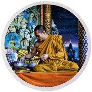 Monk At Big Buddha  Round Beach Towel