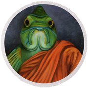Round Beach Towel featuring the painting Monk Fish by Leah Saulnier The Painting Maniac